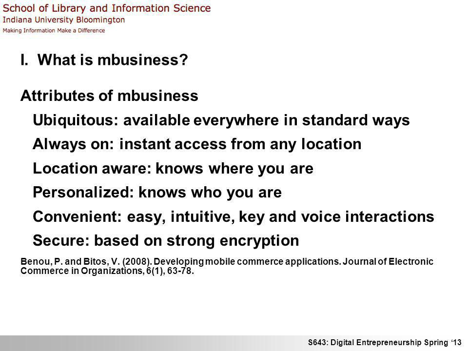 Attributes of mbusiness