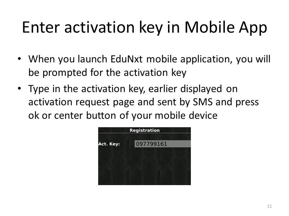 Enter activation key in Mobile App