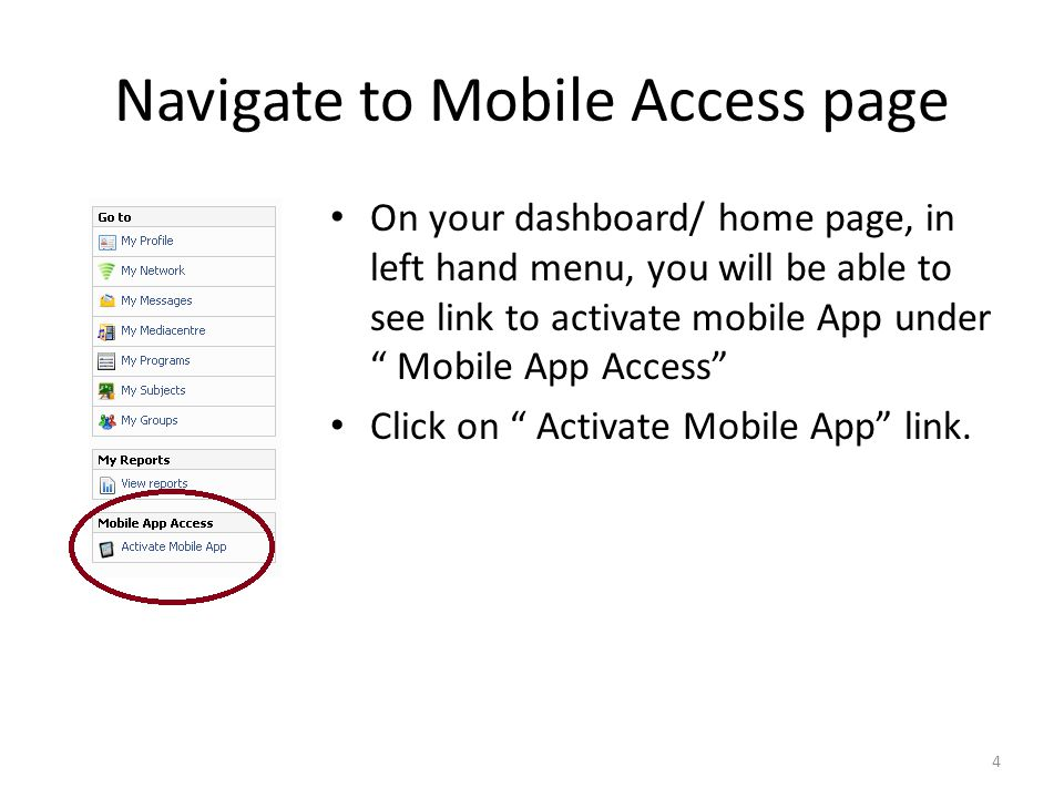 Navigate to Mobile Access page