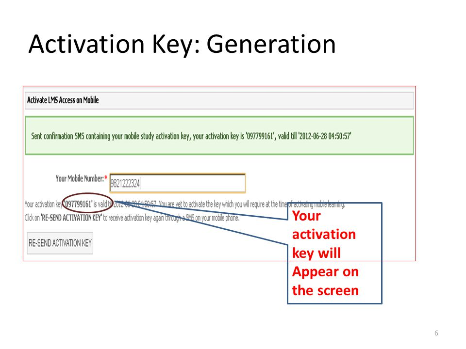 Activation Key: Generation
