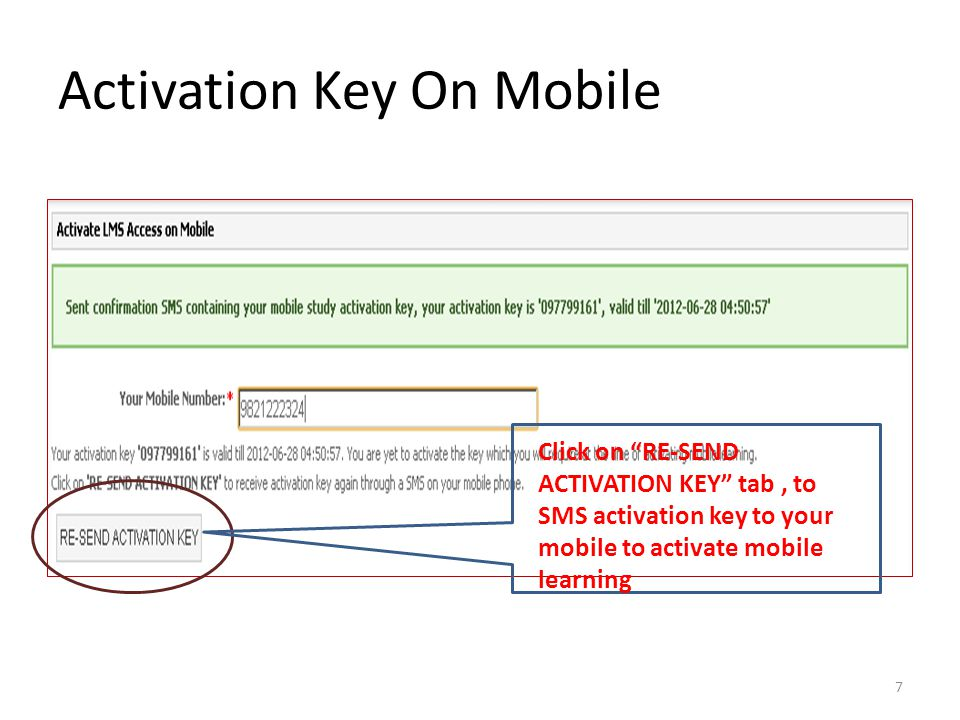 Activation Key On Mobile