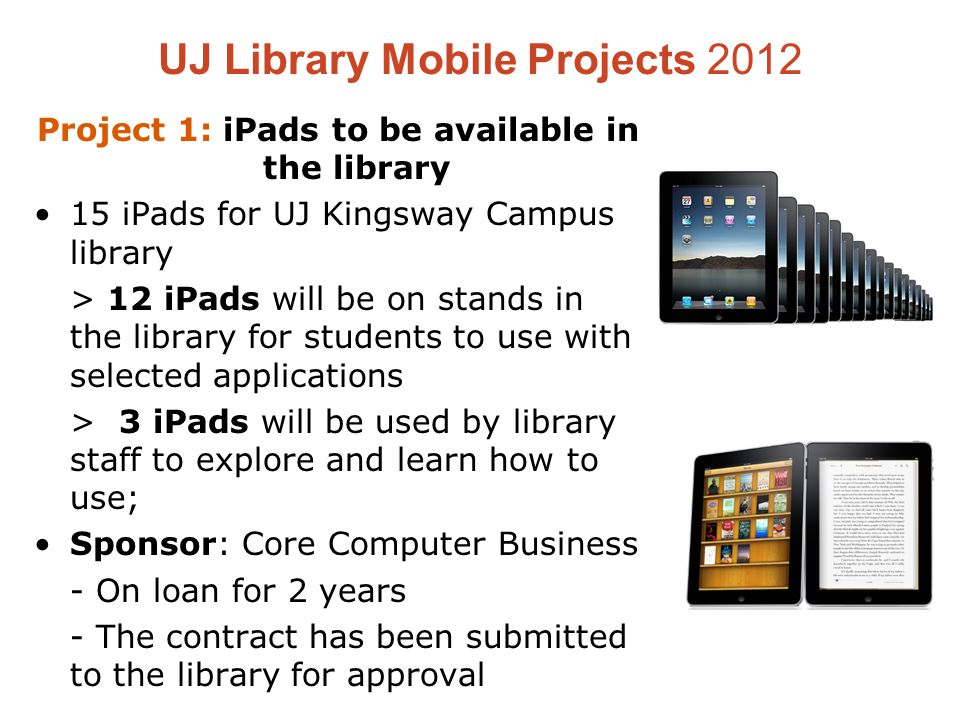 UJ Library Mobile Projects 2012