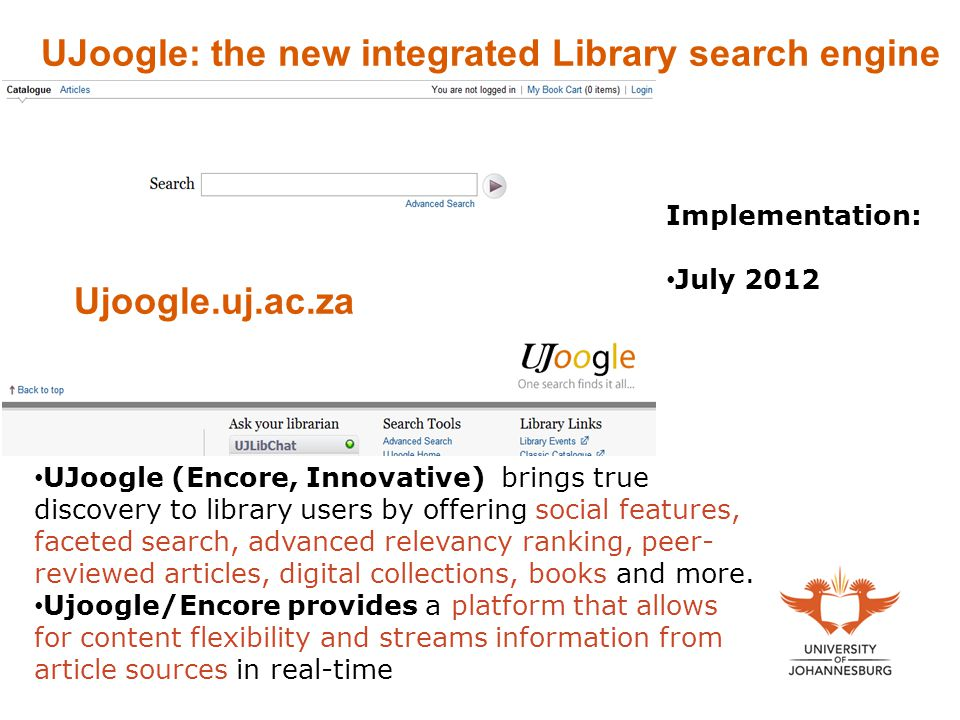 UJoogle: the new integrated Library search engine
