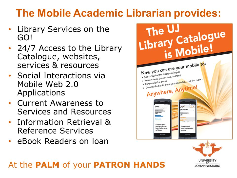 The Mobile Academic Librarian provides: