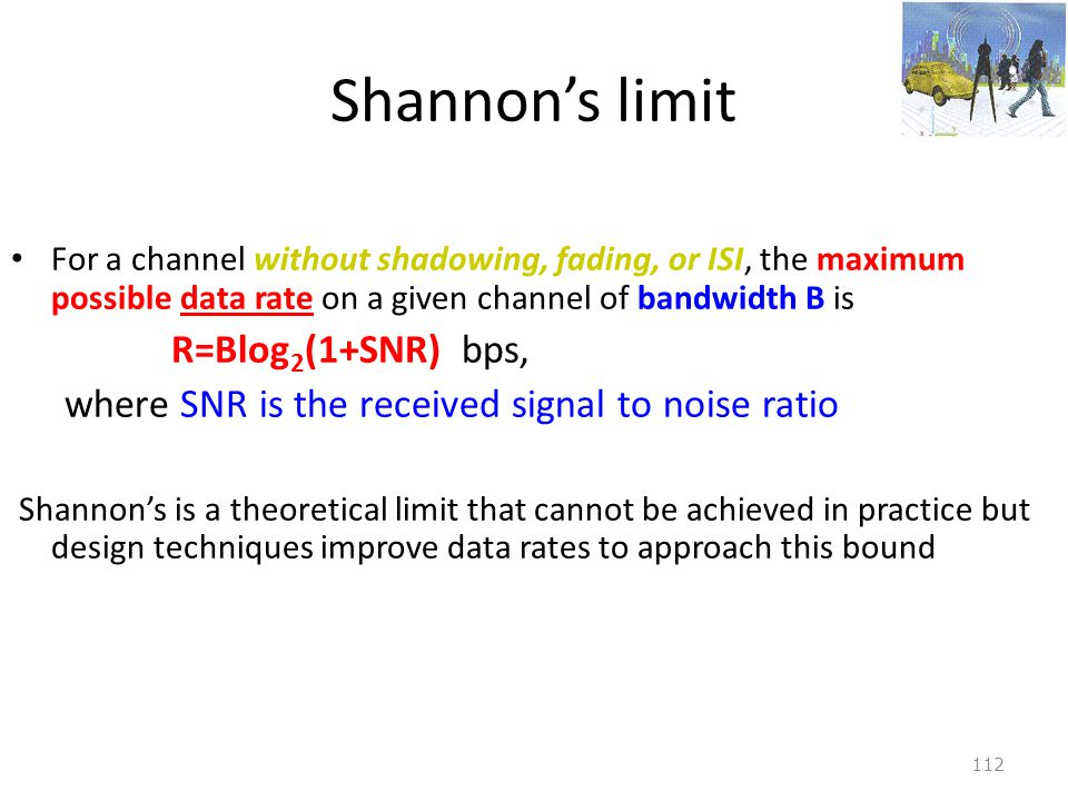Shannon's limit R=Blog2(1+SNR) bps,