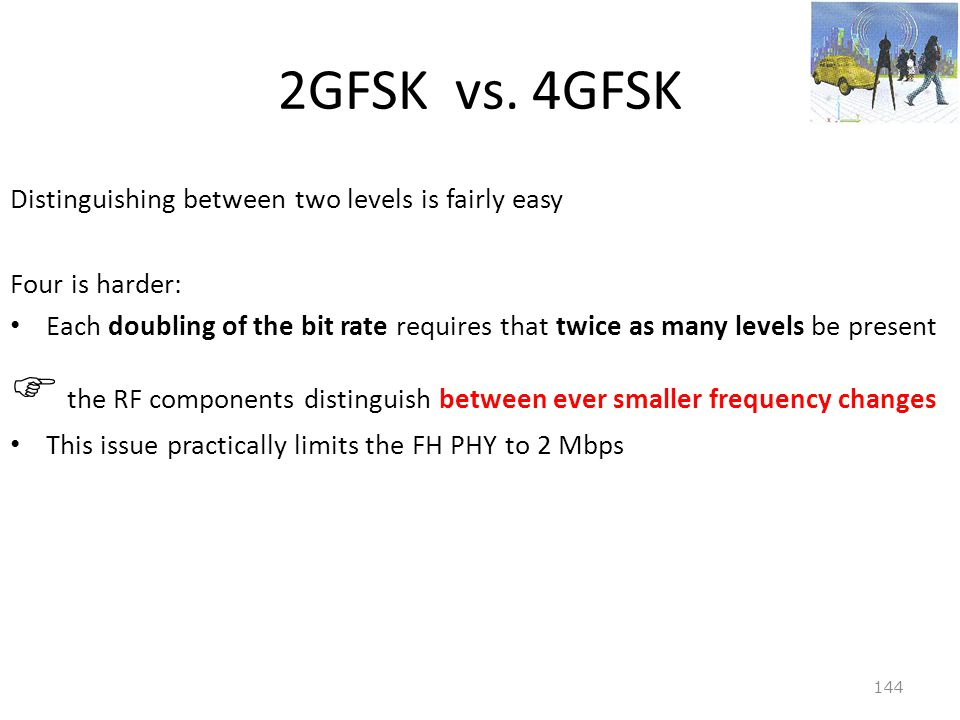 2GFSK vs. 4GFSK Distinguishing between two levels is fairly easy. Four is harder:
