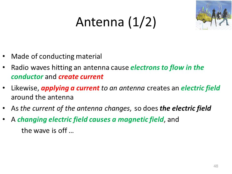 Antenna (1/2) Made of conducting material