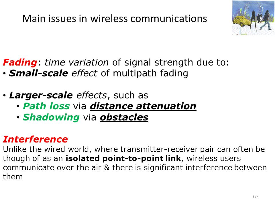 Main issues in wireless communications