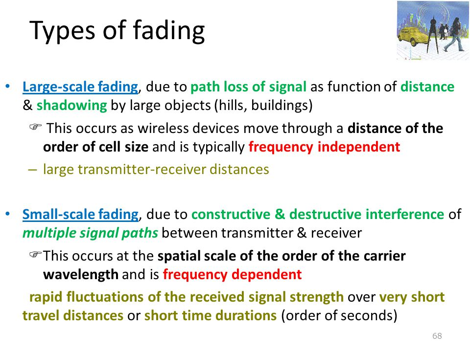 Types of fading Large-scale fading, due to path loss of signal as function of distance & shadowing by large objects (hills, buildings)