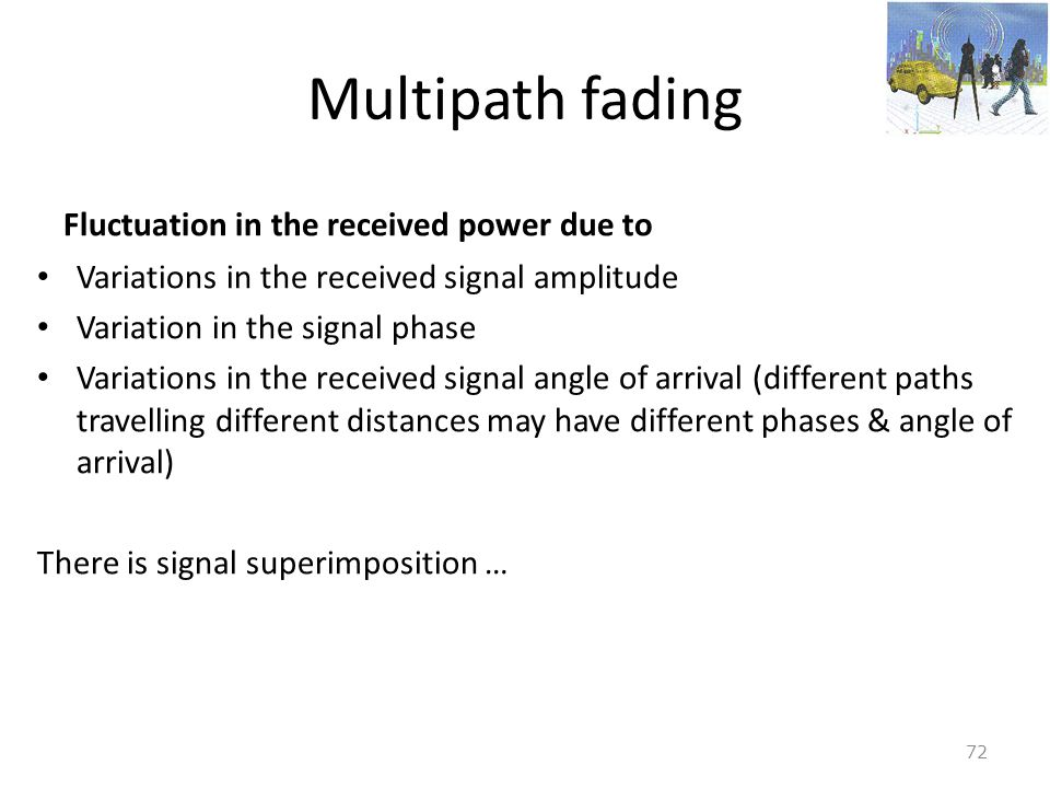 Multipath fading Fluctuation in the received power due to
