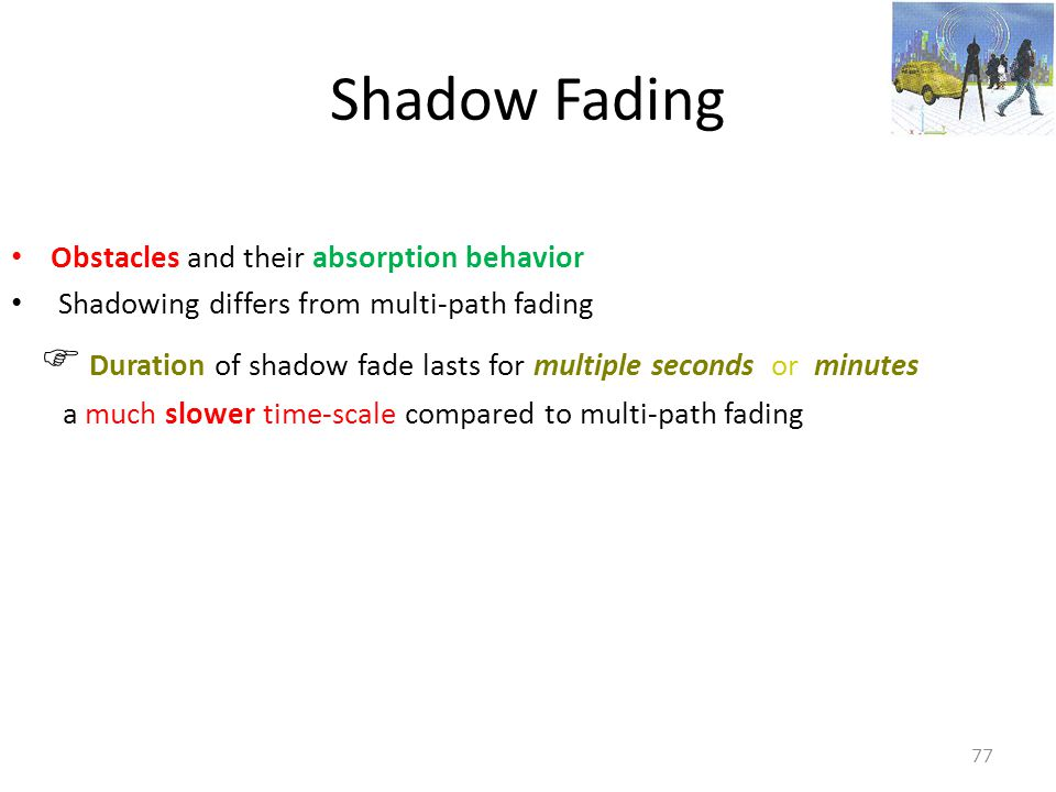 Shadow Fading Obstacles and their absorption behavior
