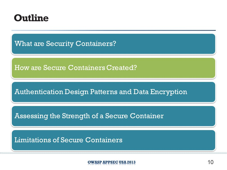 Outline What are Security Containers