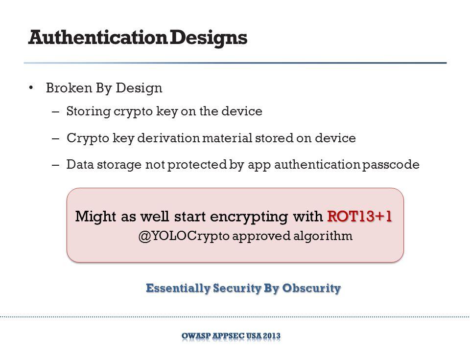 Authentication Designs