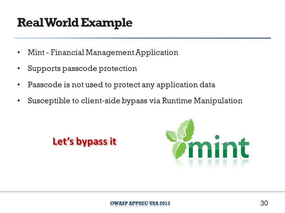 Real World Example Let's bypass it