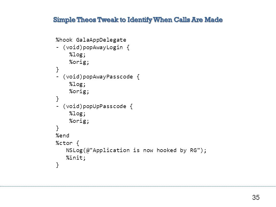 Simple Theos Tweak to Identify When Calls Are Made