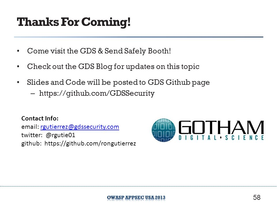 Thanks For Coming! Come visit the GDS & Send Safely Booth!