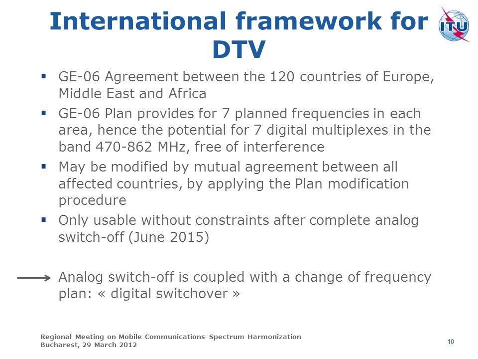 International framework for DTV