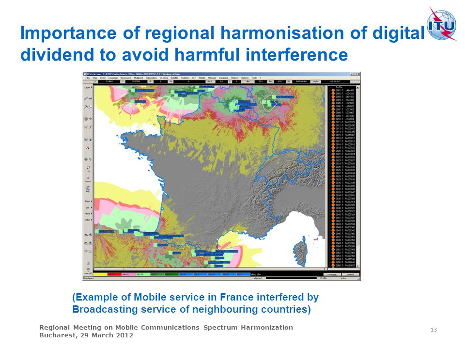 Importance of regional harmonisation of digital dividend to avoid harmful interference