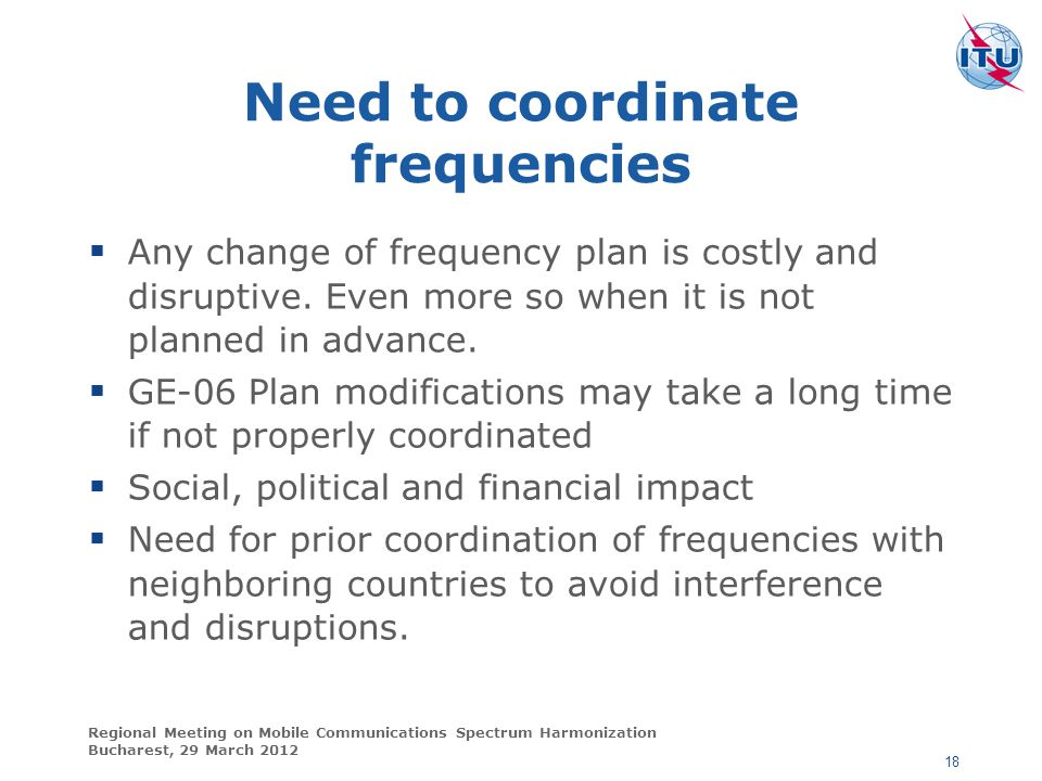 Need to coordinate frequencies
