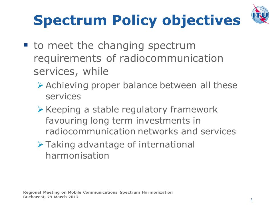 Spectrum Policy objectives
