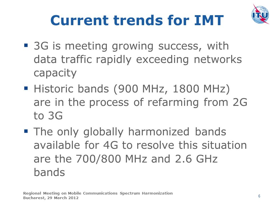 Current trends for IMT 3G is meeting growing success, with data traffic rapidly exceeding networks capacity.