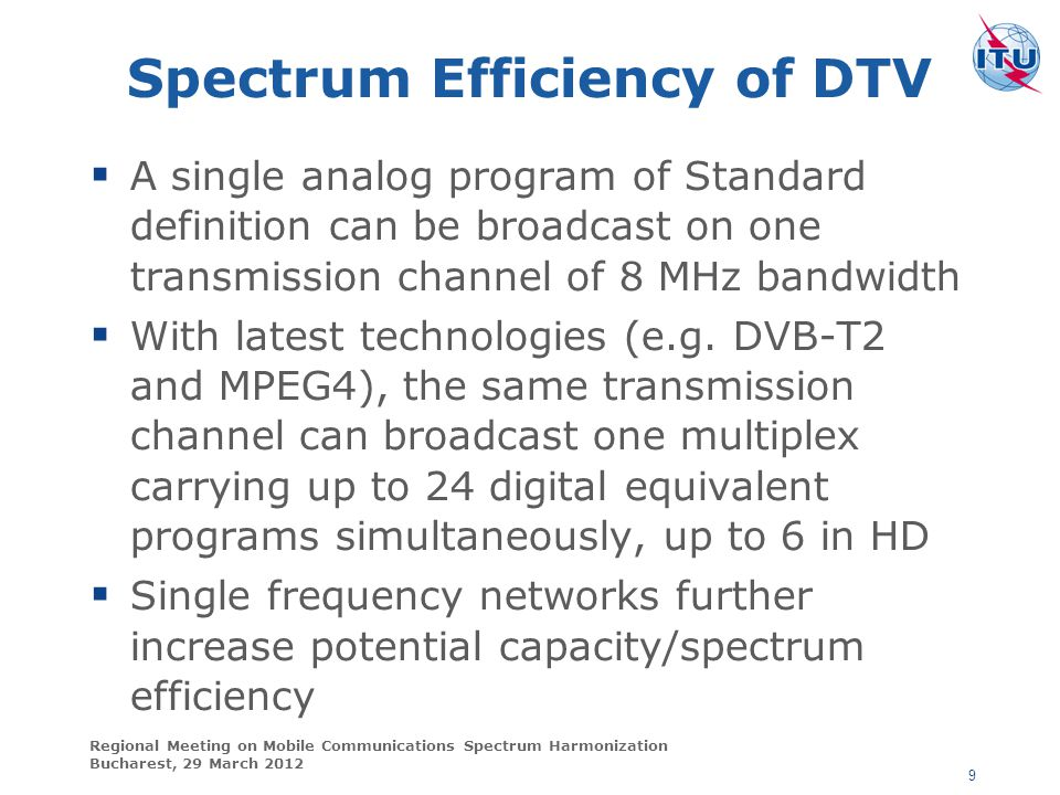 Spectrum Efficiency of DTV