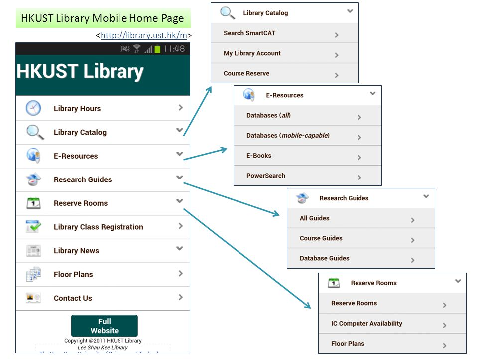 HKUST Library Mobile Home Page