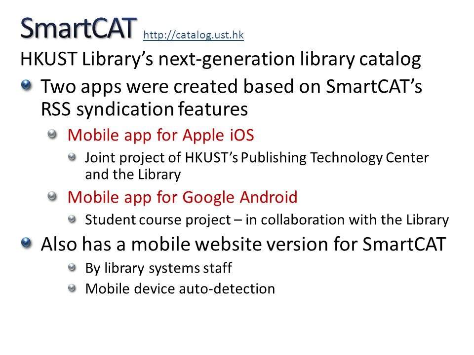 SmartCAT HKUST Library's next-generation library catalog