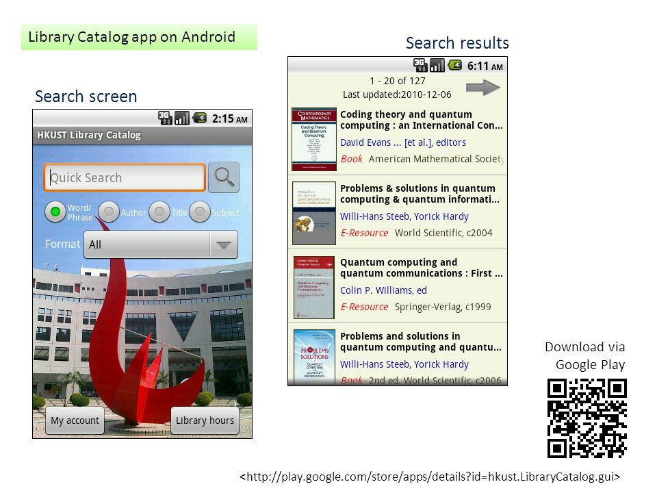 Search results Search screen Library Catalog app on Android