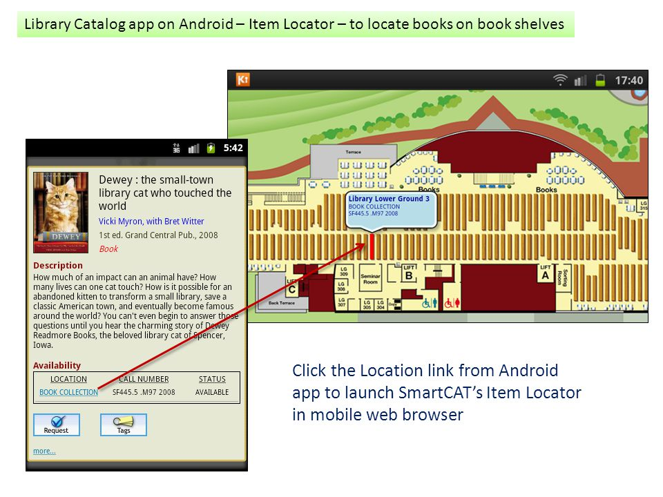 Library Catalog app on Android – Item Locator – to locate books on book shelves