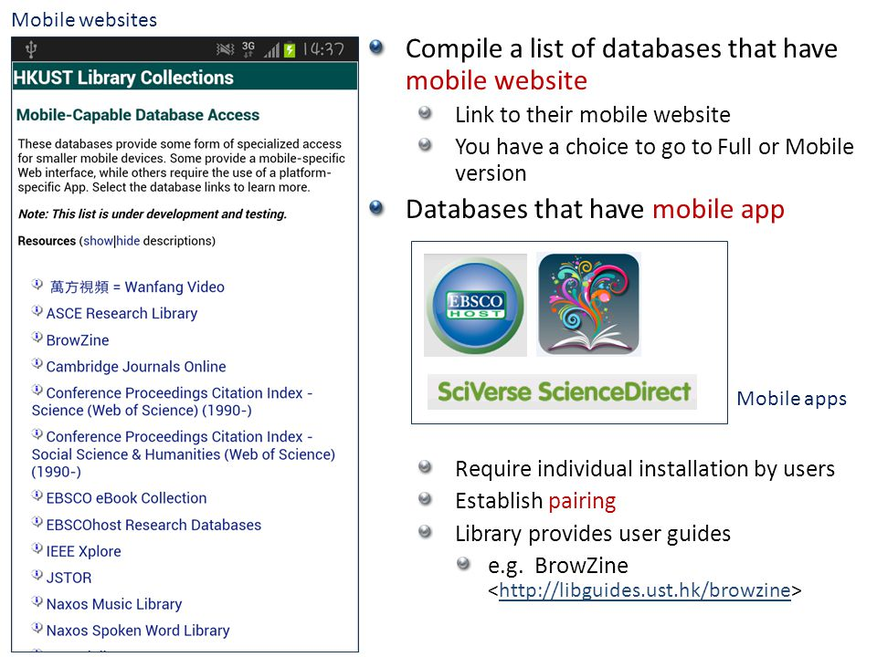Compile a list of databases that have mobile website