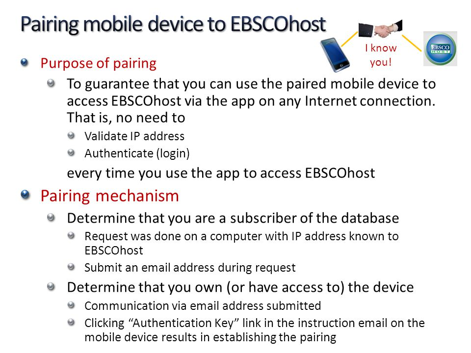 Pairing mobile device to EBSCOhost