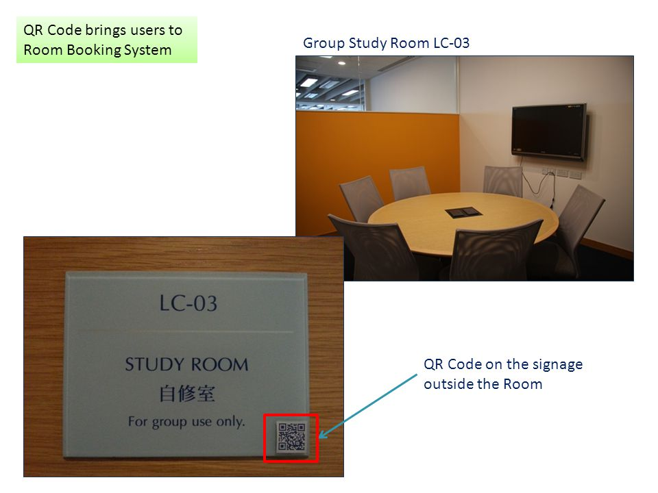 QR Code brings users to Room Booking System