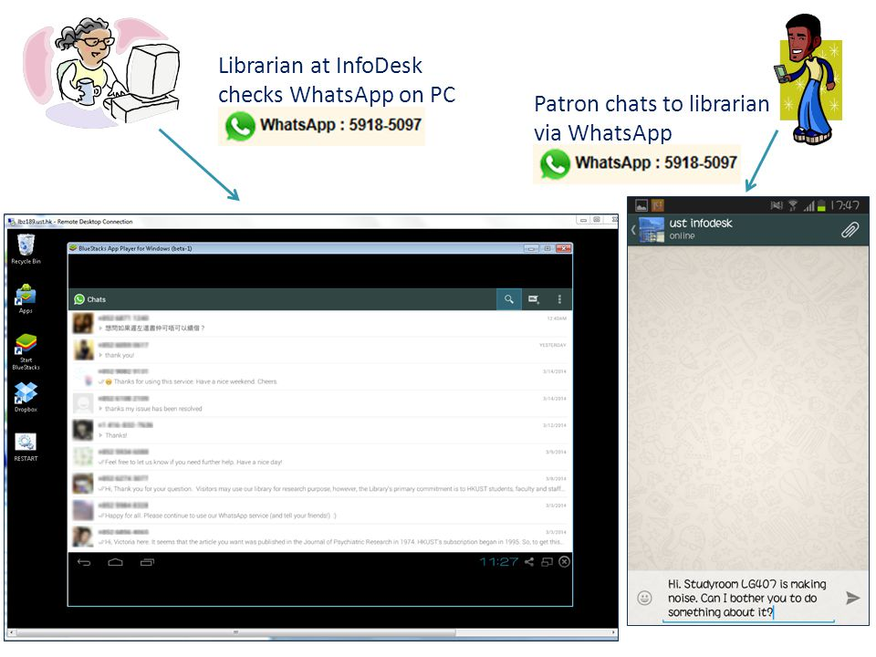 Librarian at InfoDesk checks WhatsApp on PC