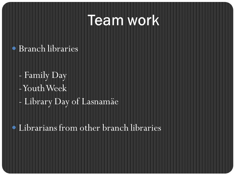 Team work Branch libraries - Family Day - Youth Week