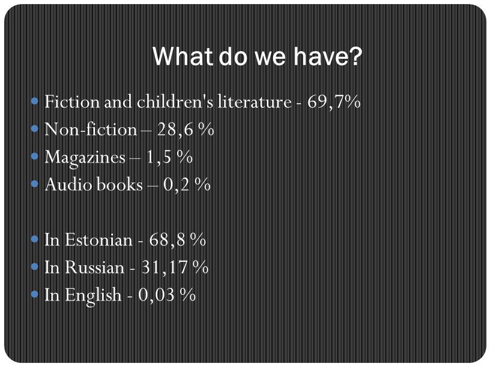 What do we have Fiction and children s literature - 69,7%