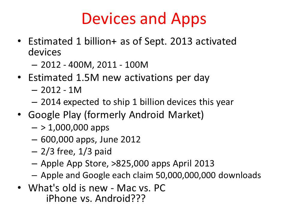 Devices and Apps Estimated 1 billion+ as of Sept. 2013 activated devices. 2012 - 400M, 2011 - 100M.