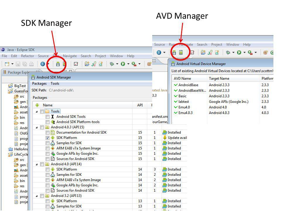 AVD Manager SDK Manager