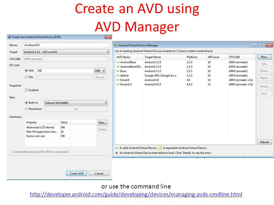 Create an AVD using AVD Manager