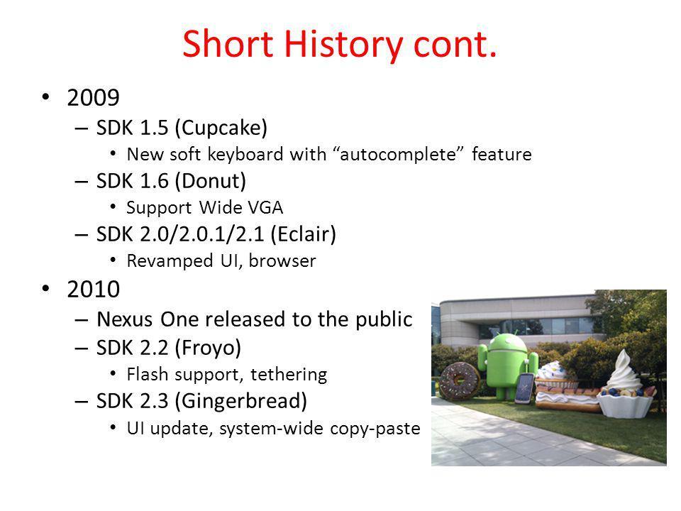 Short History cont. 2009 2010 SDK 1.5 (Cupcake) SDK 1.6 (Donut)