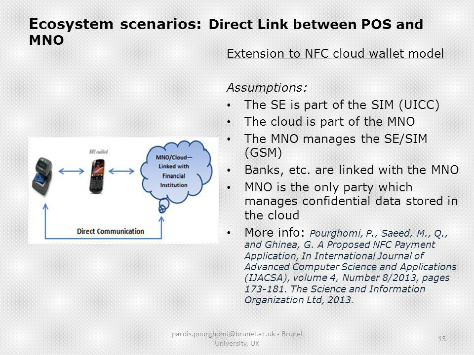 Ecosystem scenarios: Direct Link between POS and MNO