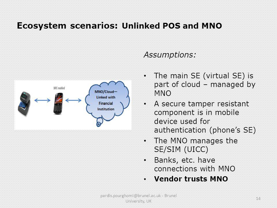 Ecosystem scenarios: Unlinked POS and MNO