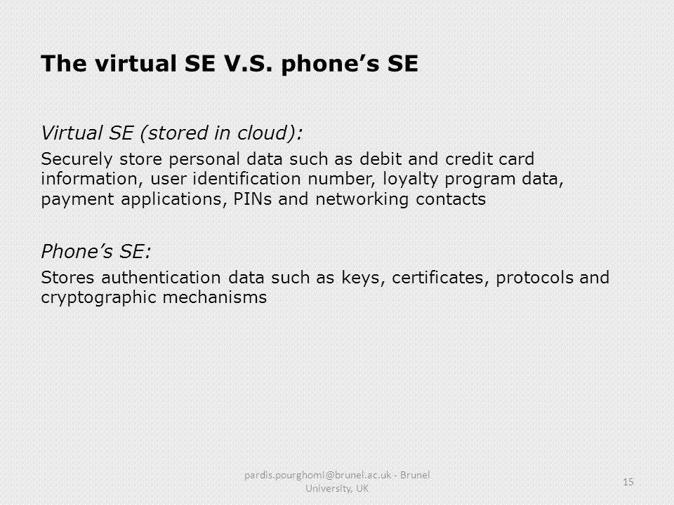 The virtual SE V.S. phone's SE