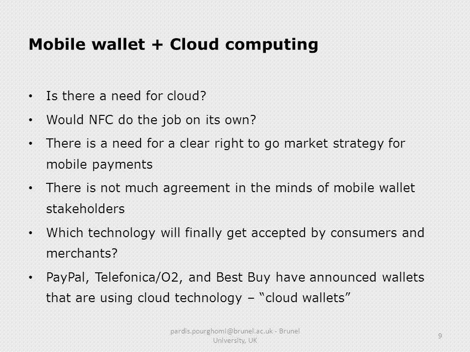 Mobile wallet + Cloud computing