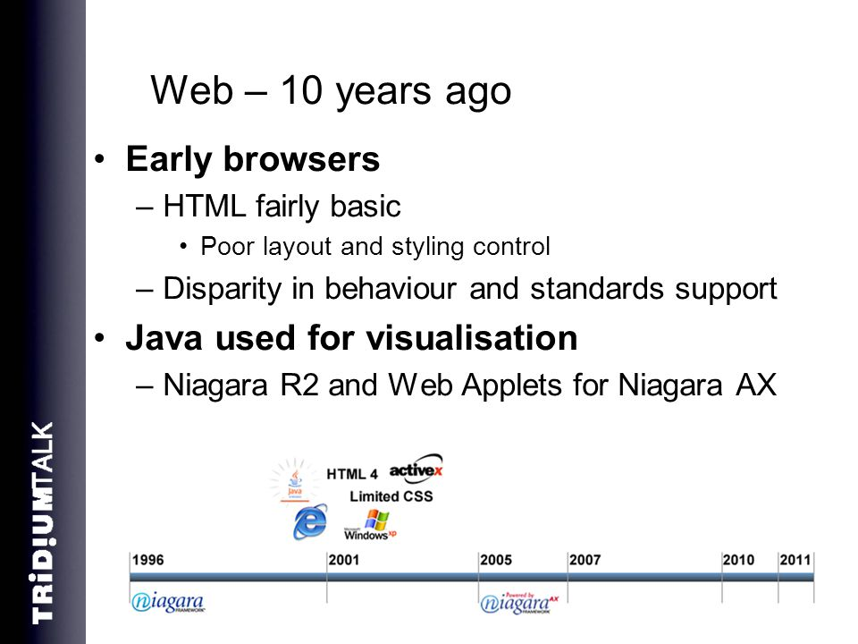 Web – 10 years ago Early browsers Java used for visualisation