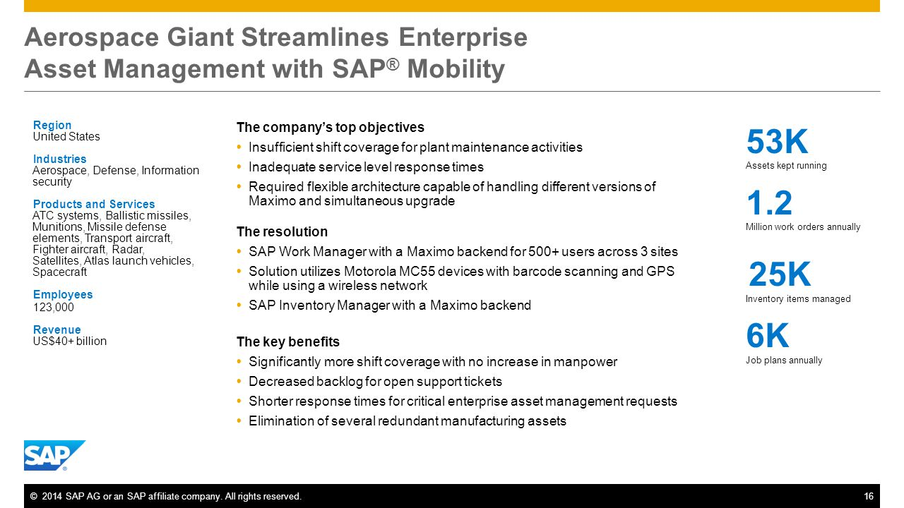 Aerospace Giant Streamlines Enterprise Asset Management with SAP® Mobility