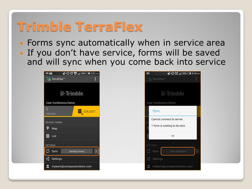 Trimble TerraFlex Forms sync automatically when in service area