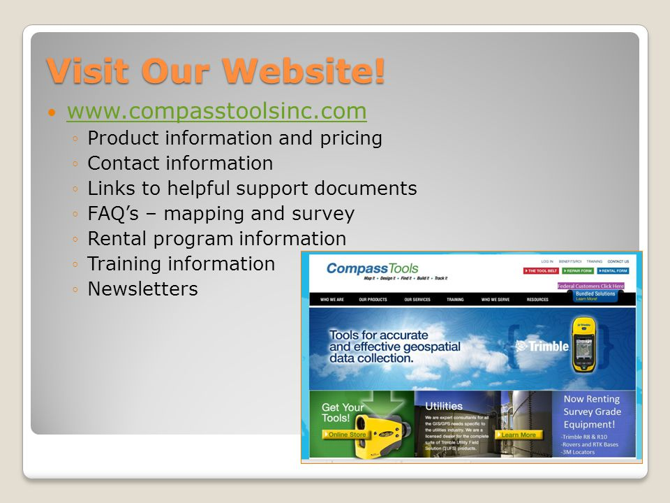 Visit Our Website! www.compasstoolsinc.com