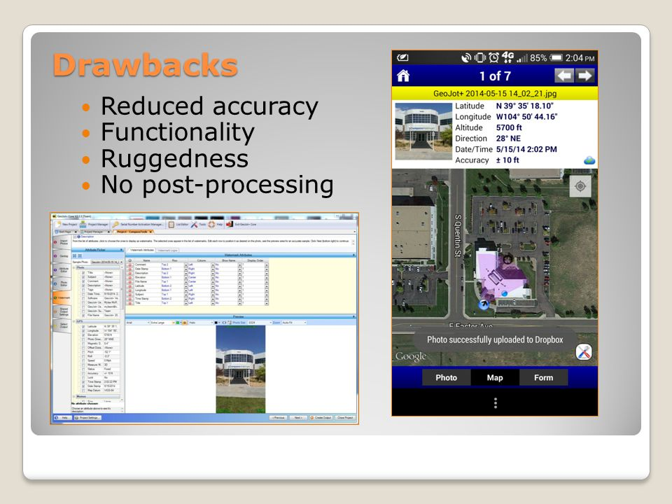 Drawbacks Reduced accuracy Functionality Ruggedness No post-processing