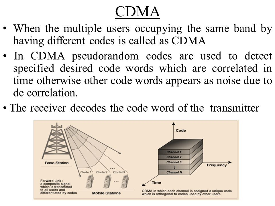 CDMA When the multiple users occupying the same band by having different codes is called as CDMA.